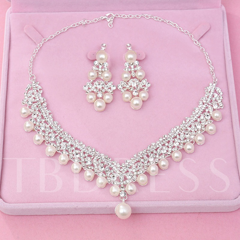Brilliant Crown Imitation Pearl Jewelry Sets