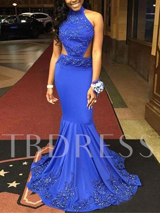 Trumpet Beaded Jewel Backless Evening Dress