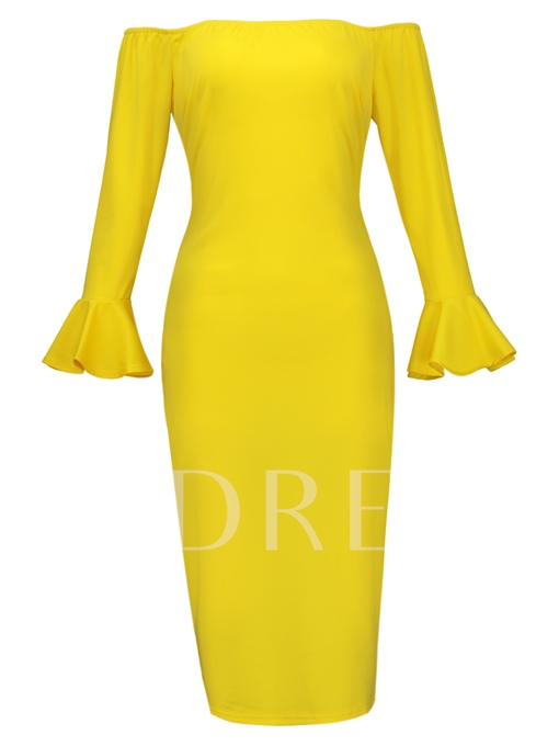 Bell Sleeve Slash Neck Women's Sheath Dress