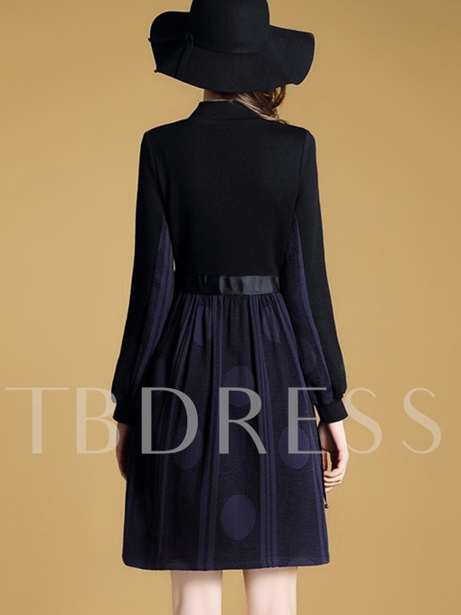 Long Sleeve Elastical Waist Women's Day Dress