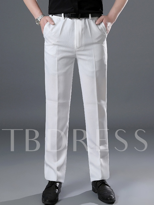 Notched Collar Contrast Trim Plain Men's Dress Suit