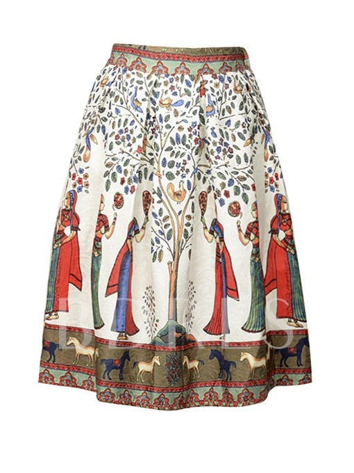 Retro Knee-Length Print Women's Skirt