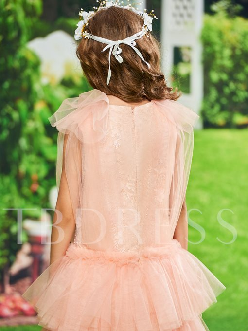 Cap Sleeve Lace Tiered Girl Party Dress