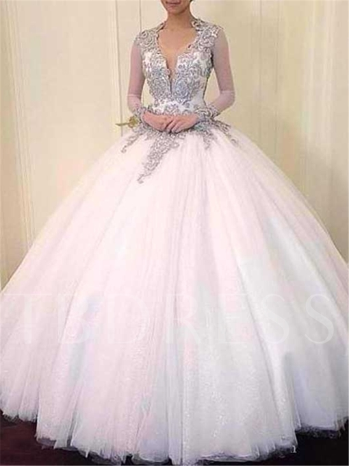 Keyhole Back Ball Gown Beading Long Sleeves Wedding Dress