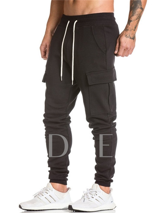 Camouflage Lace-up Plain Men's Casual Pants