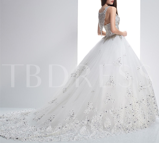 Ball Gown Straps Beaded Court Train Lace Wedding Dress