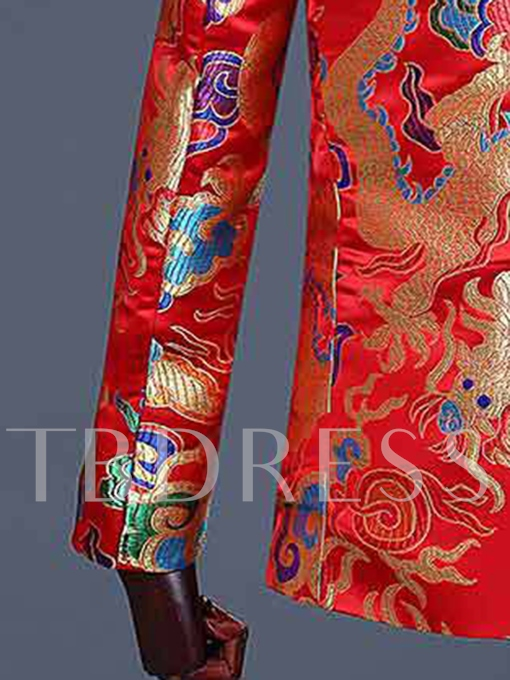 Chinese Style Red Dragon Print Men's Dress Suit