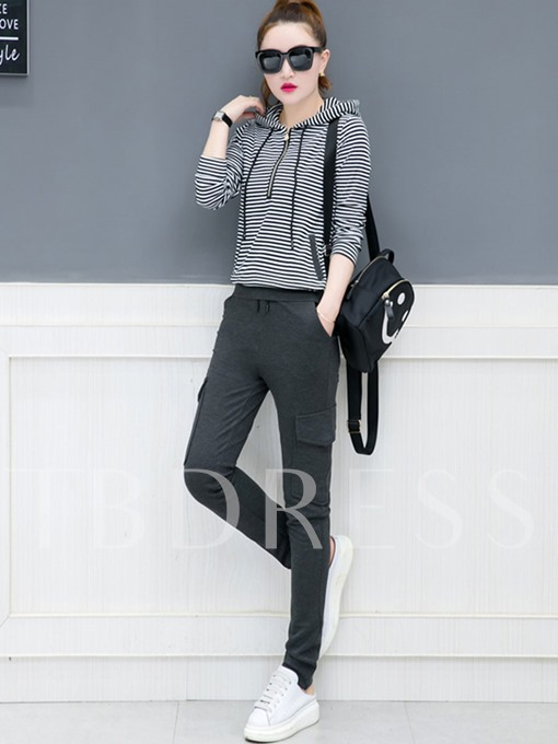Stripe Hooded T-Shirt and Harem Pants Women's Two Piece Set