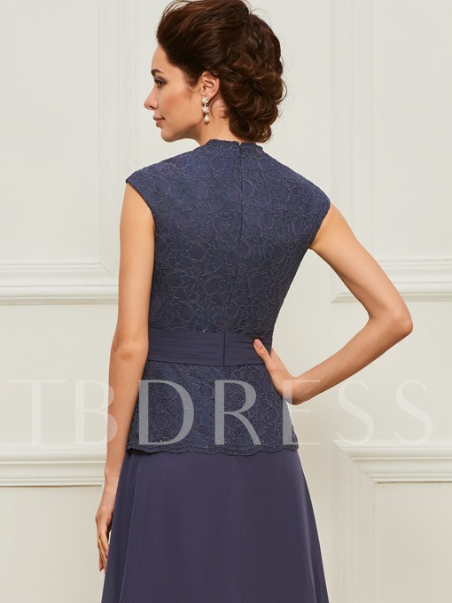 V-Neck Lace Mother of the Bride Dress