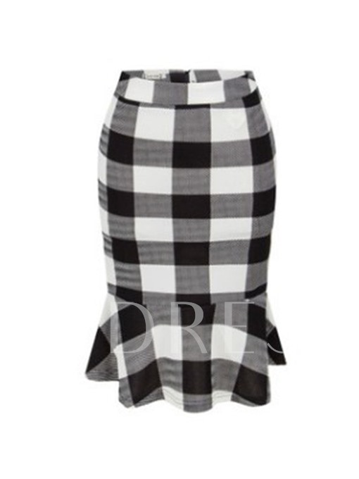 Houndstooth Plaid Color Block Women's Bodycon Skirt