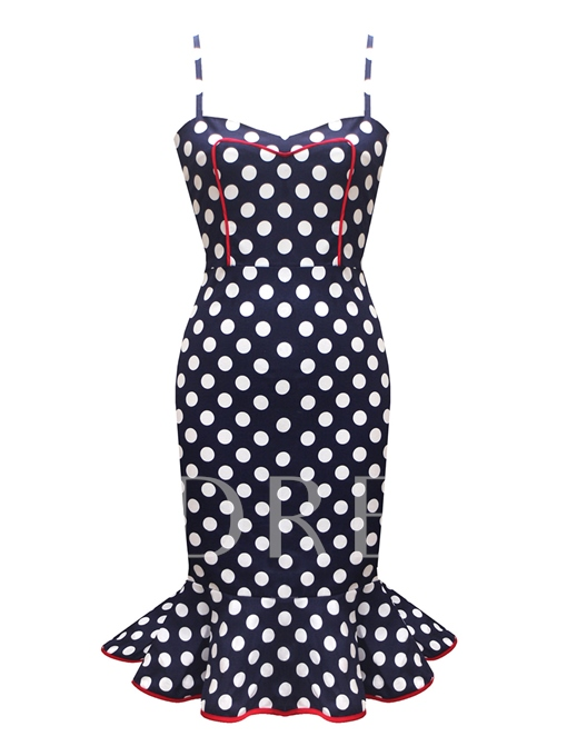 Spaghetti Straps Polka Dots Women's Party Dress