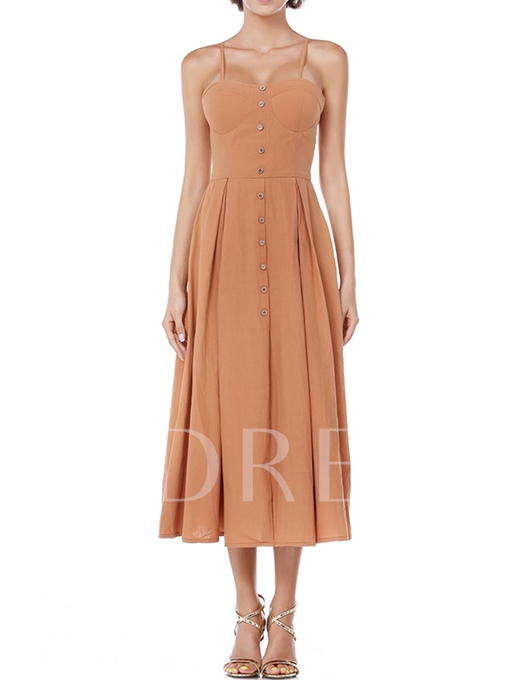 Brown Single-Breasted Women's Ribbed Dress