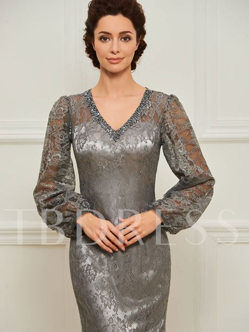 Sequined V-Neck Long Sleeve Lace Mother Dress