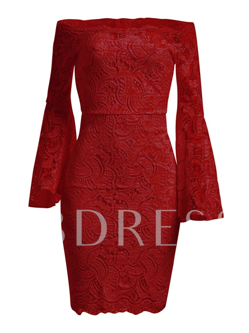Off Shoulder Bell Sleeve Women's Lace Dress