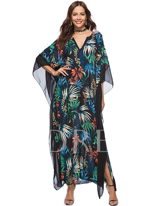 Loose Printing Patchwork Women's Maxi Dress