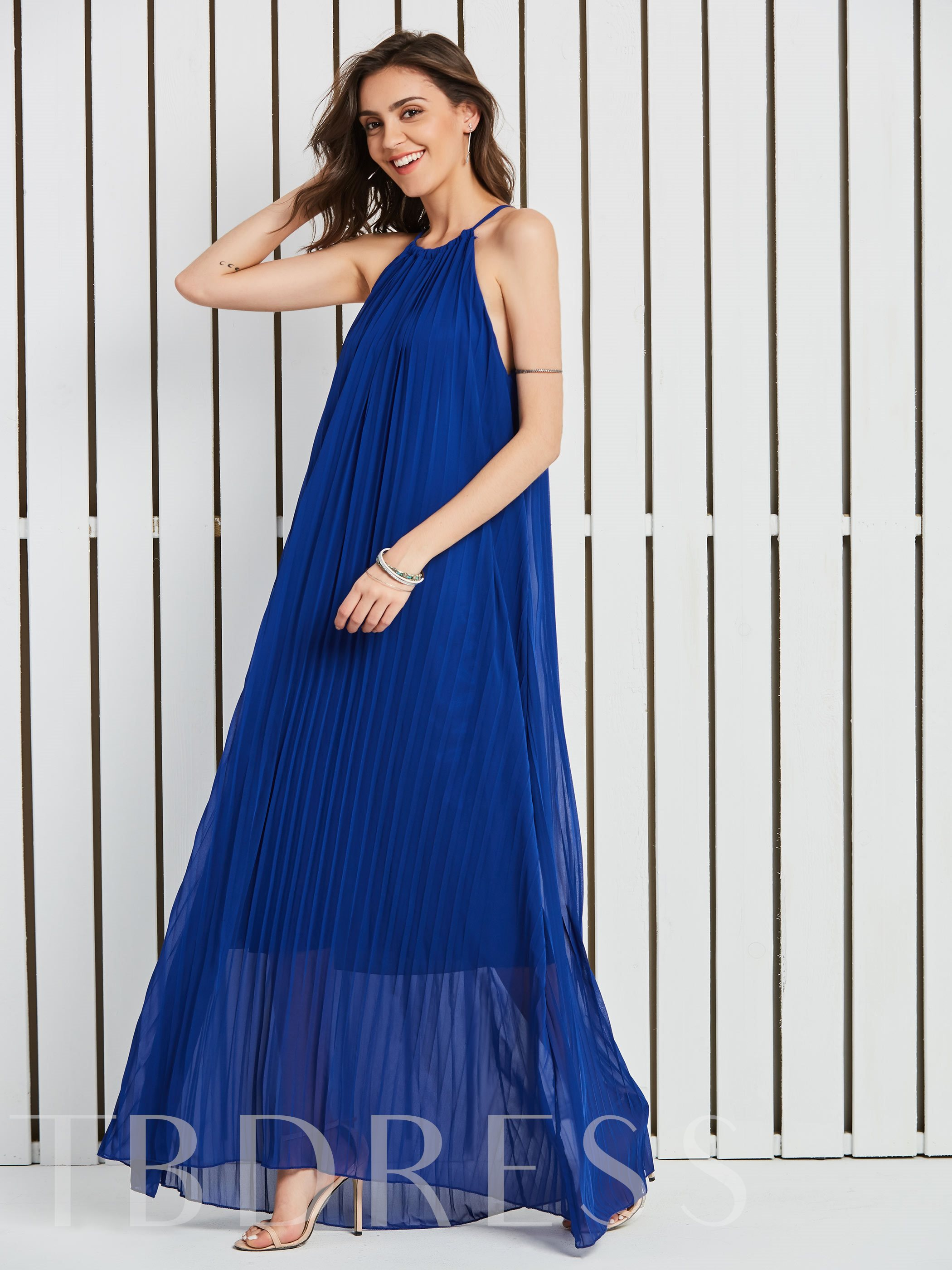 Buy Royal Strappy Pleated Women's Maxi Dress, Vintacy, Spring,Summer,Fall,Winter,All-Seasons, 13079734 for $27.99 in TBDress store