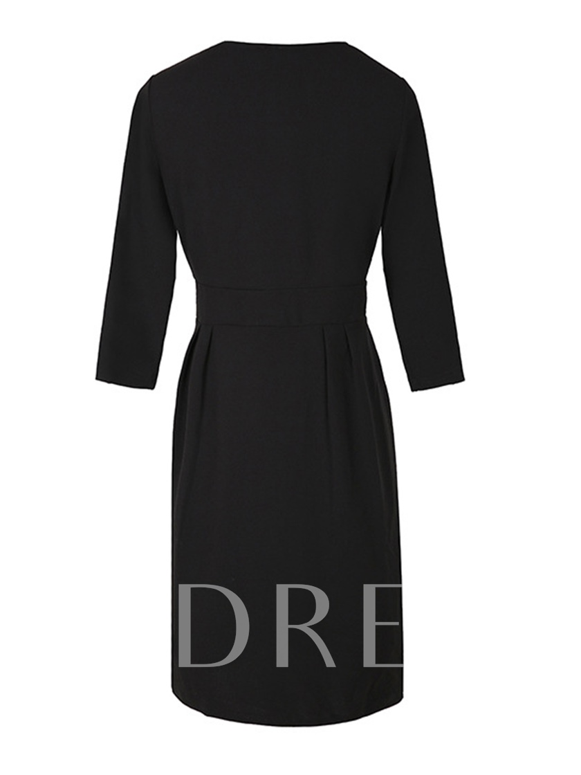 V Neck 3/4 Sleeve Women's Sheath Dress