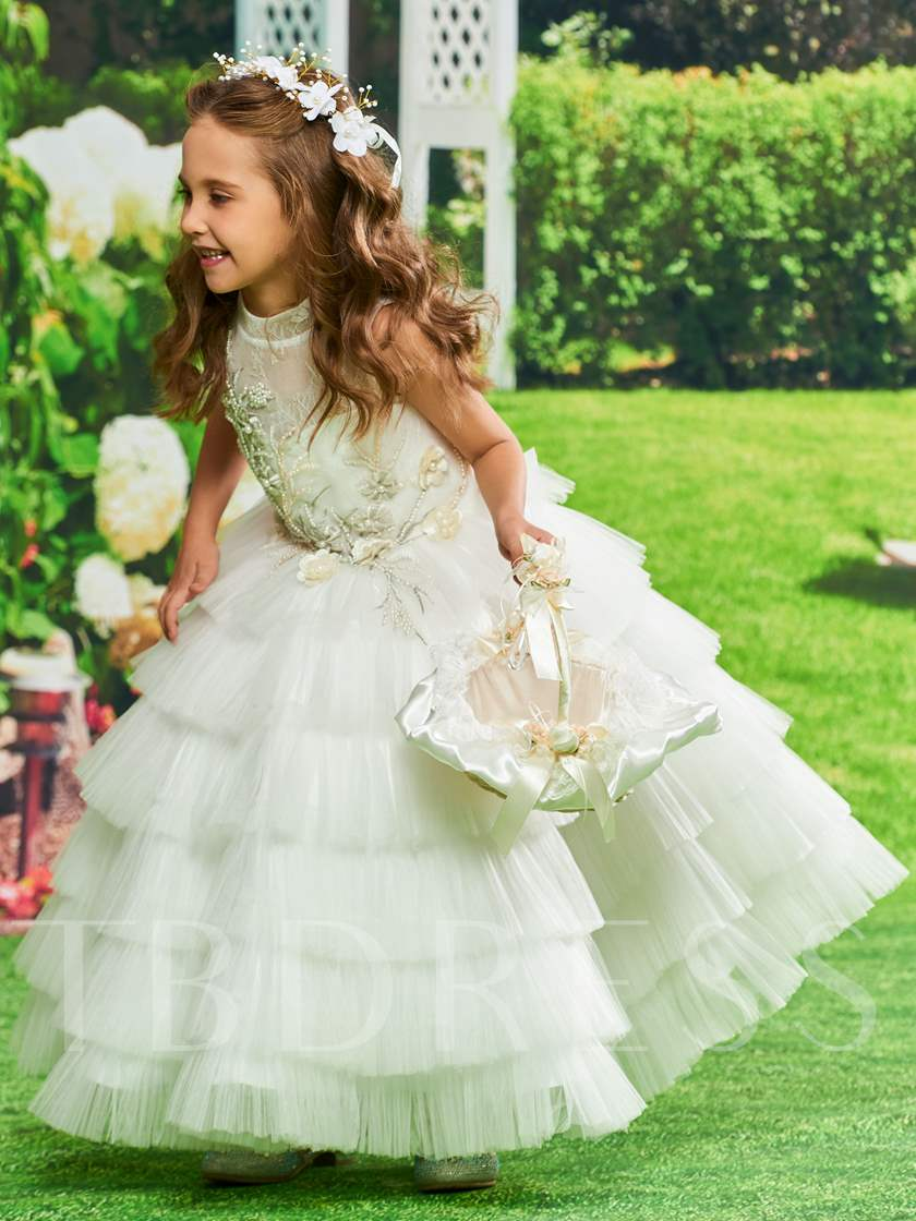 Pearls Lace Tiered Flower Girl Dress