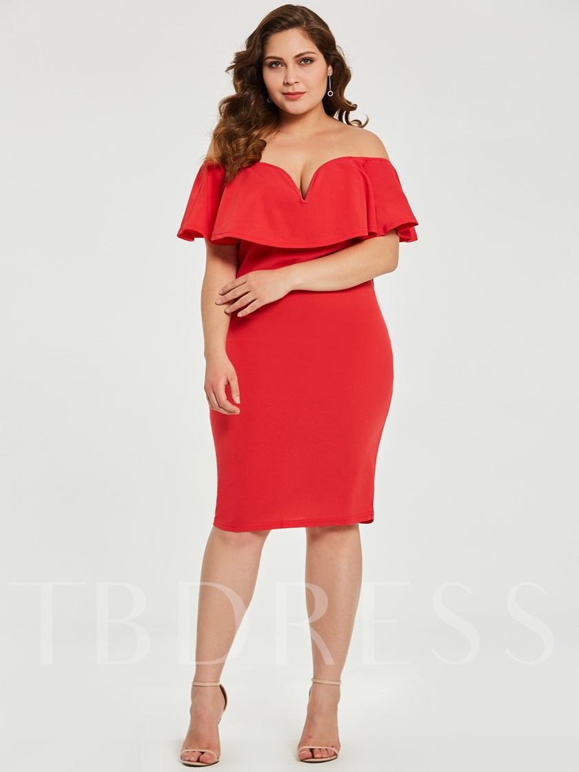 Plus Size Off Shoulder Red Women's Bodycon Dress