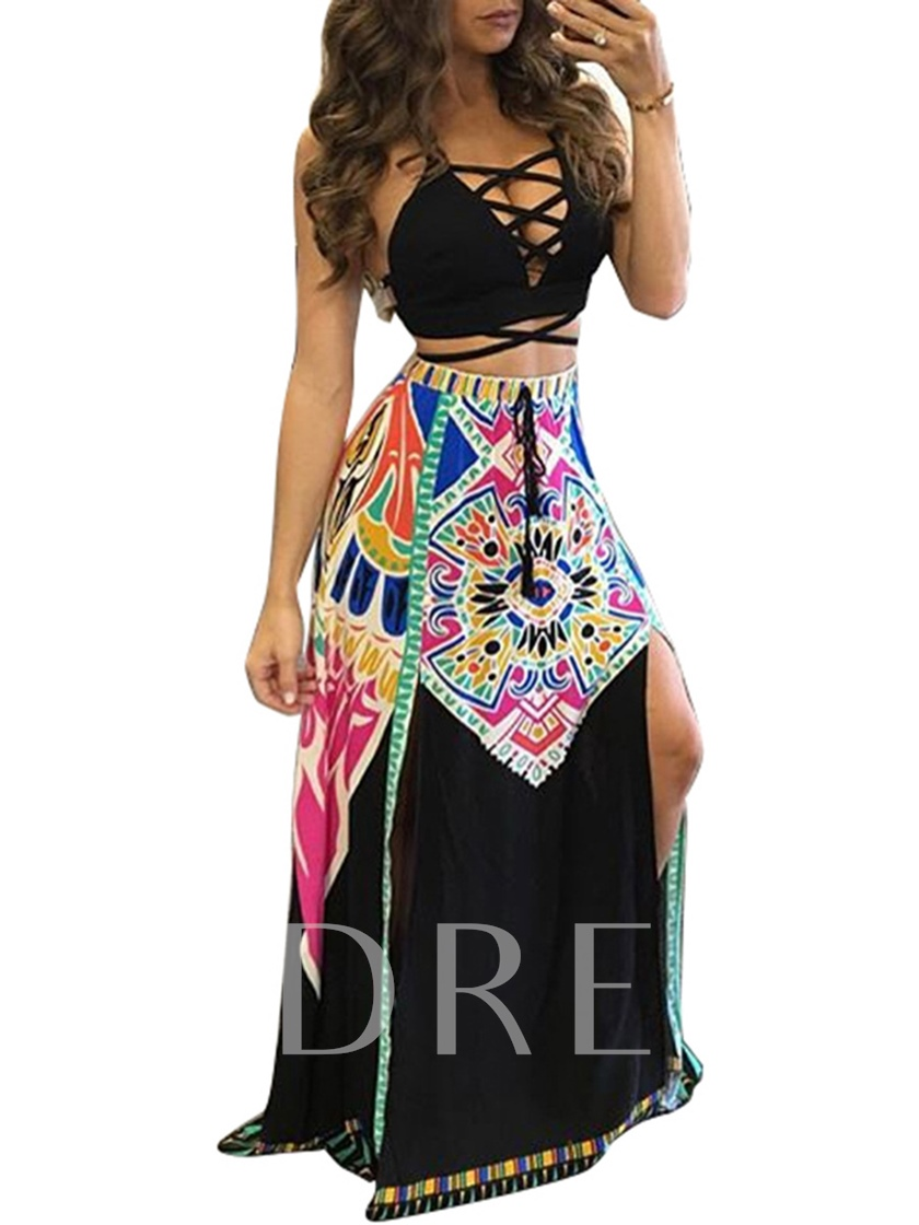 Sexy African Print A Line Lace-Up Women's Two Piece Dress