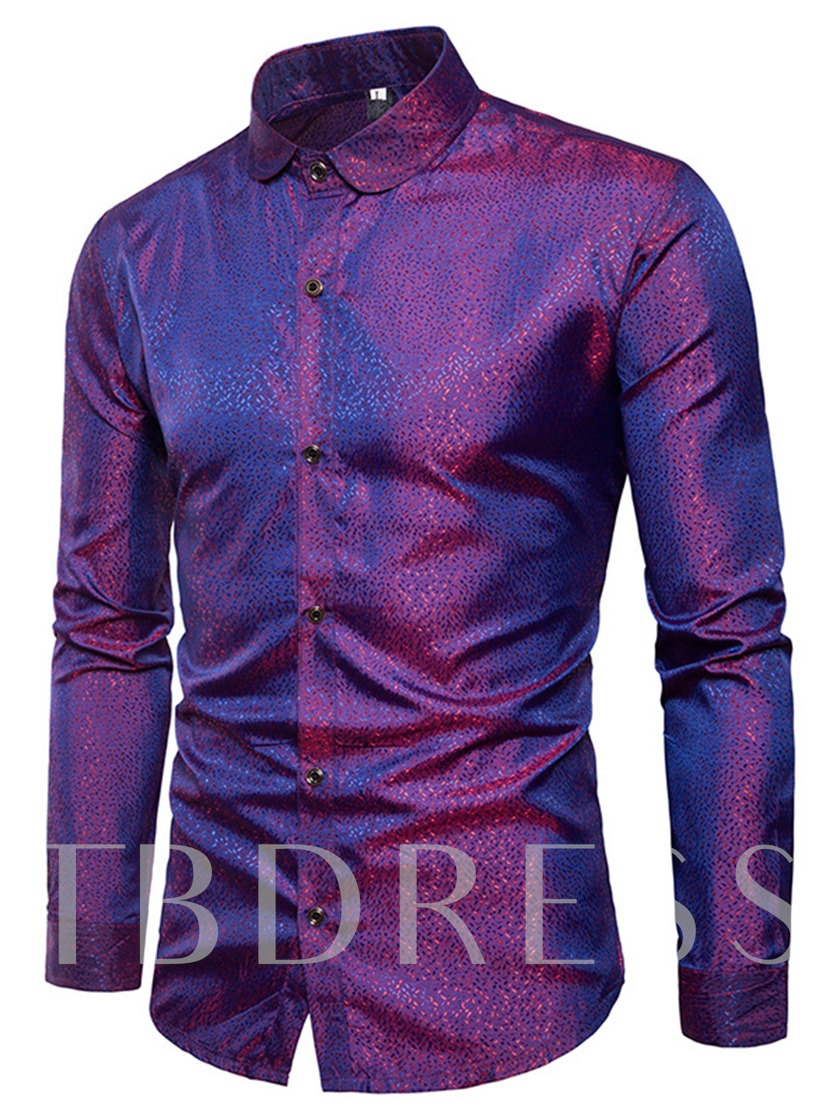 Lapel Solid Color Bright Slim Men's Shirt