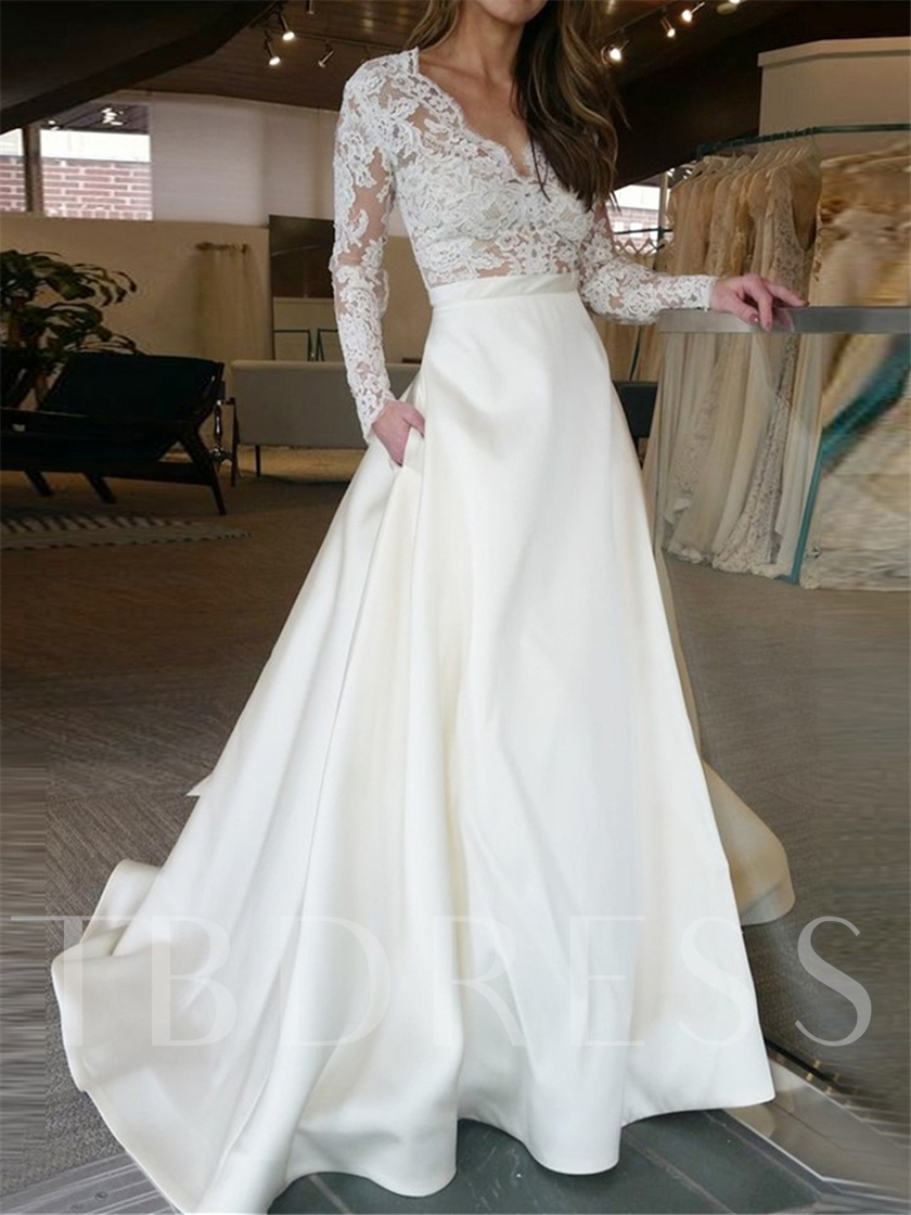 Pockets Lace Wedding Dress with Long Sleeve