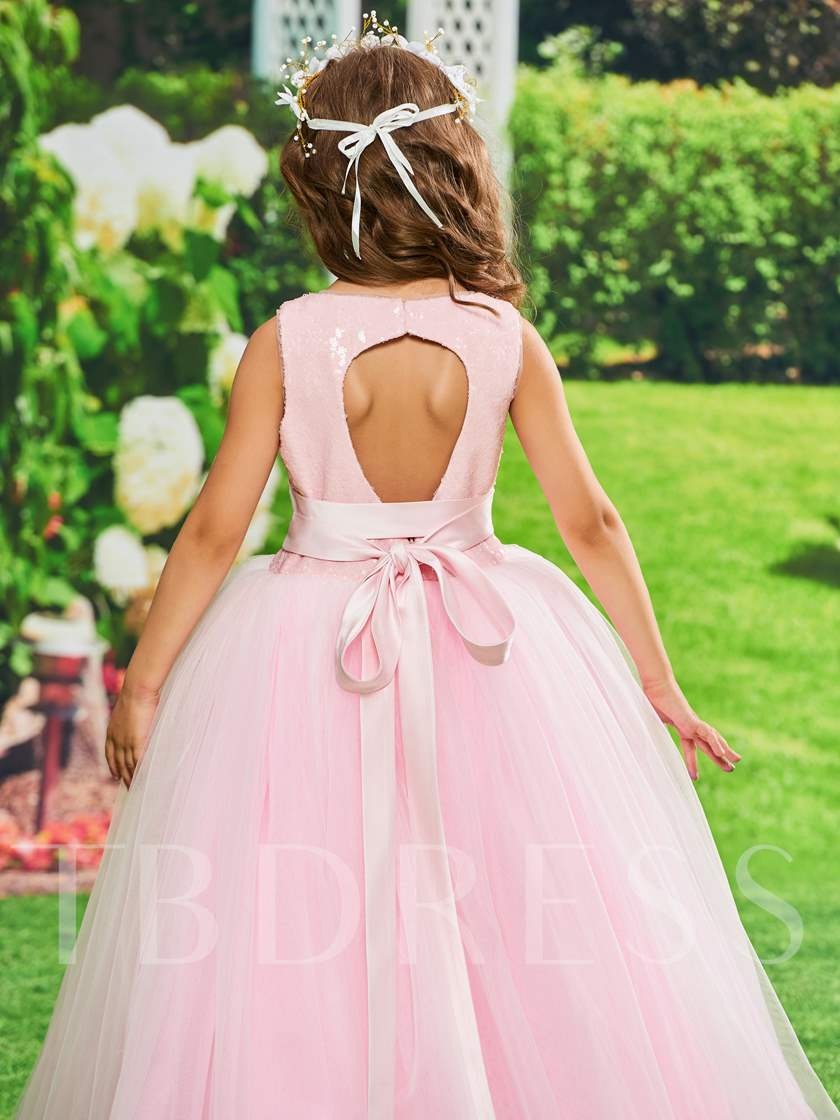 Sequined Sashes Backless Girls Party Dress