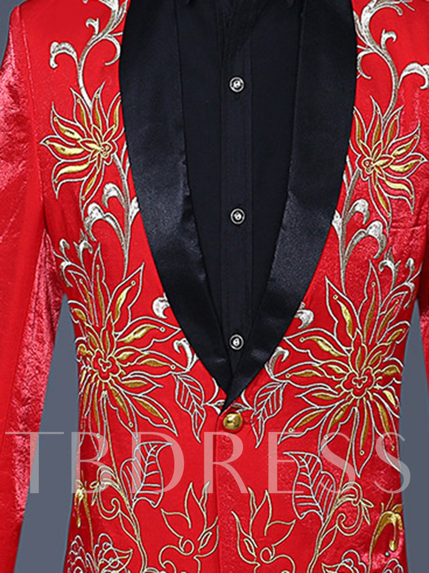 Gold Embroidery Print One Button Slim Long Sleeves Fashion Men's Dress Suit