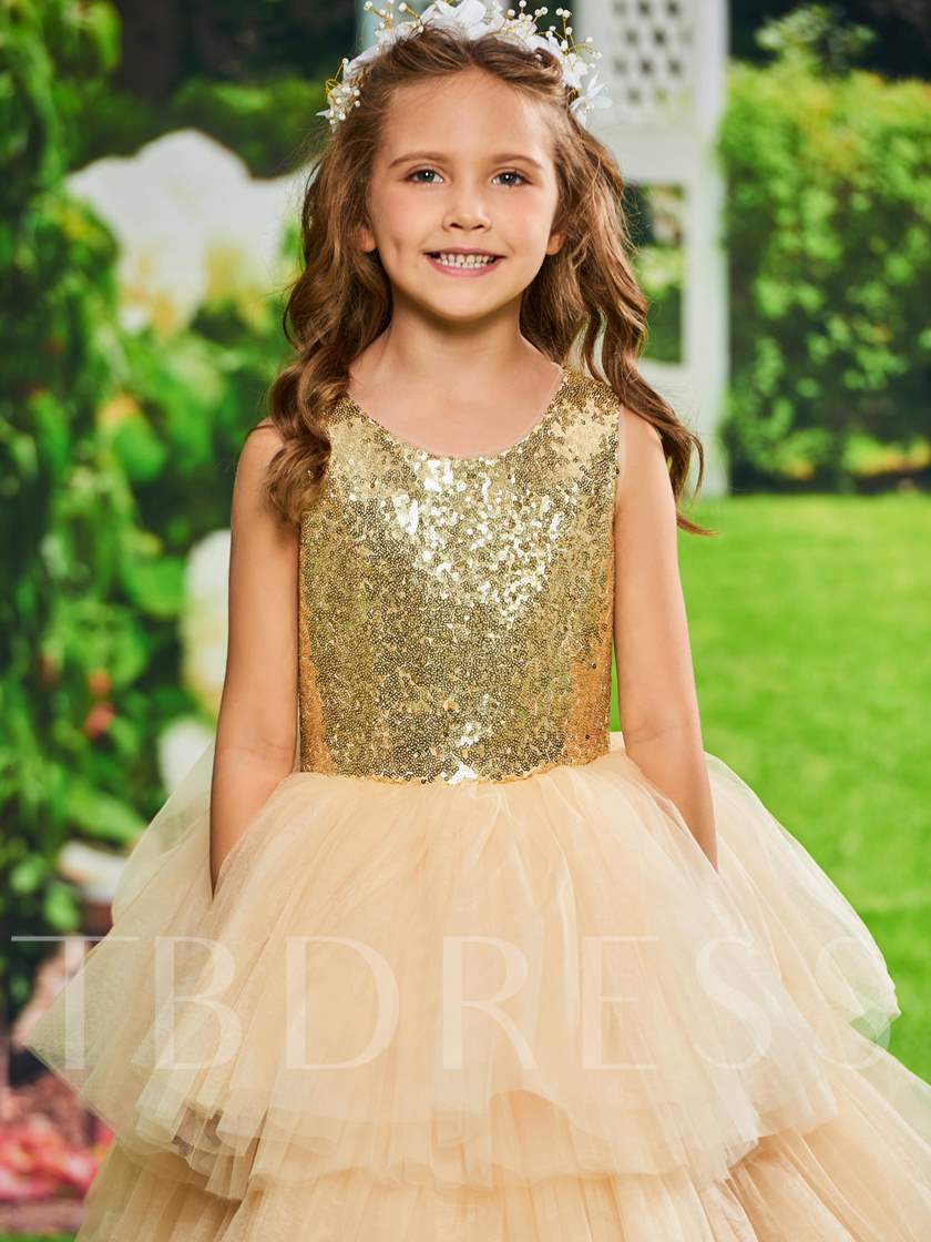 Sequined Tiered Tulle Ball Gown Girl Party Dress