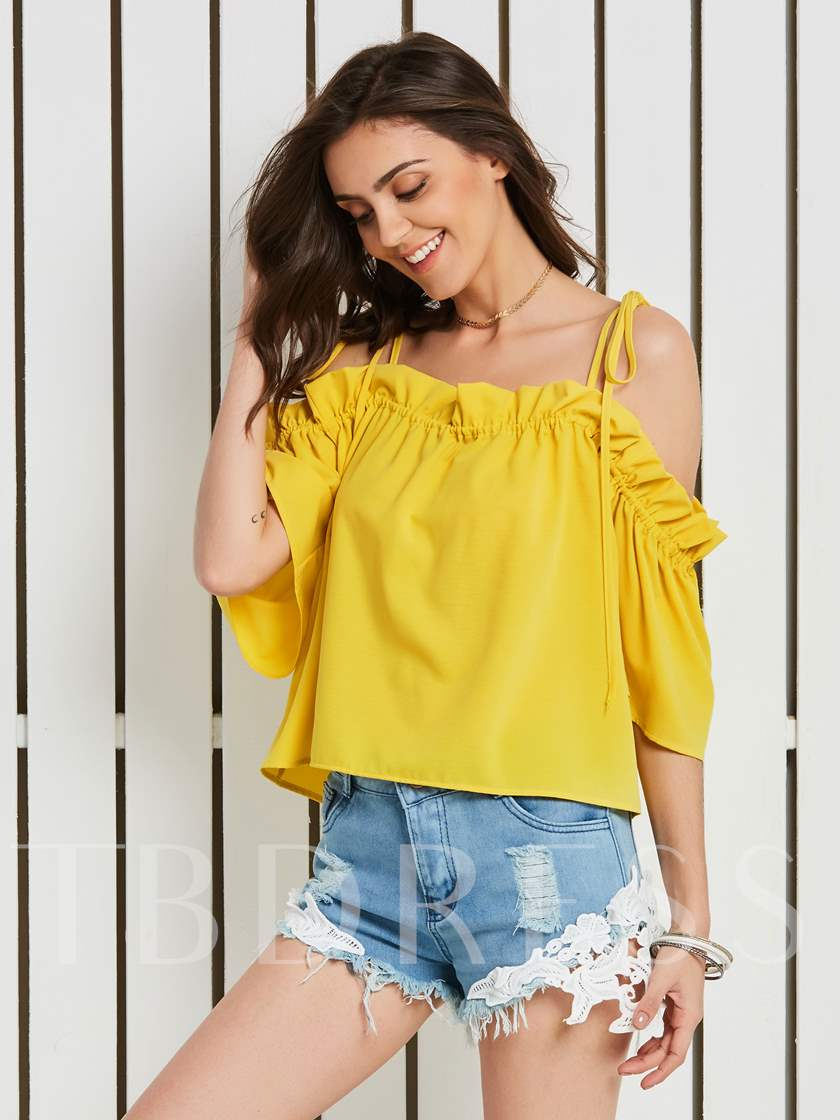 Half Sleeve Backless Lace-Up Women's Sexy Blouse