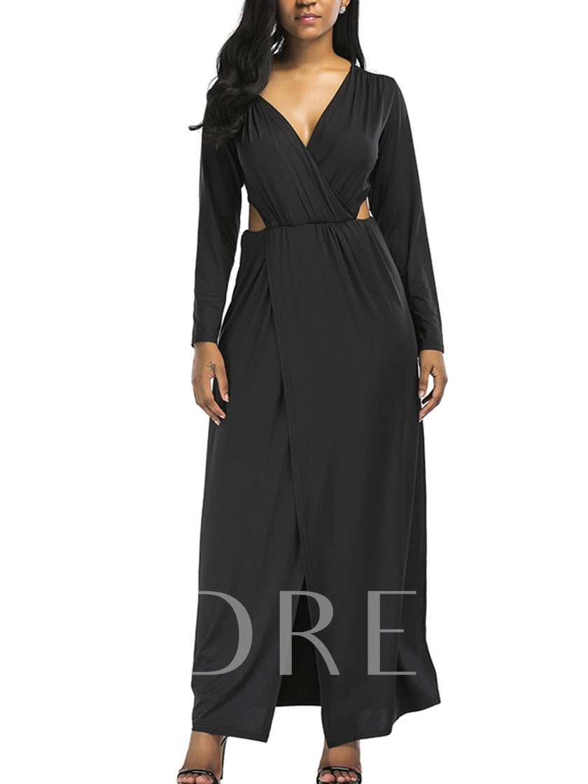 Solid Color Cuts-Out Women's Maxi Dress