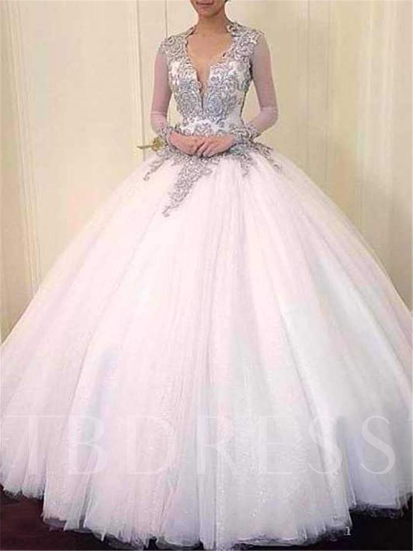 b9ae5714a07df Open Back Ball Gown Beading Long Sleeve Wedding Dress - Tbdress.com