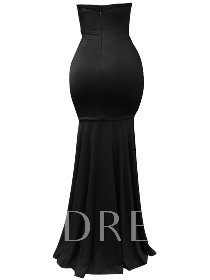 Solid Color Strapless Women's Maxi Dress