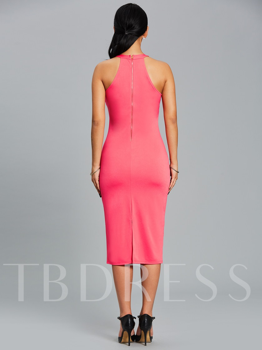 Plain Back Zipper Women's Bodycon Dress