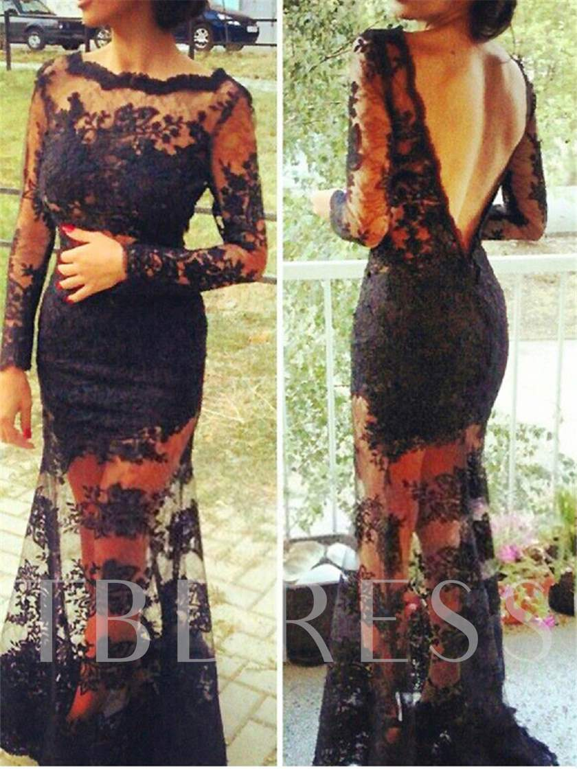 Bateau Mermaid Lace Backless Evening Dress