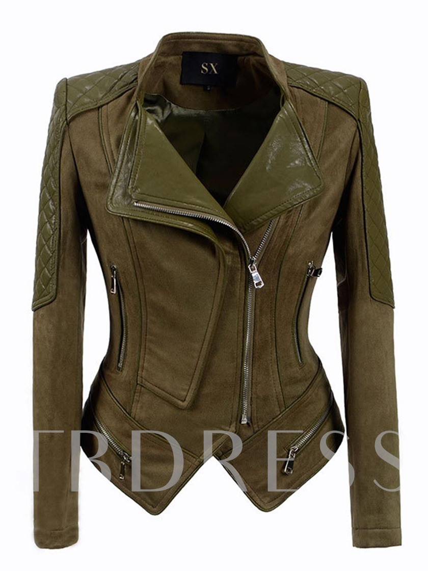 Slim Patchwork Zipper Lapel Women's Jacket