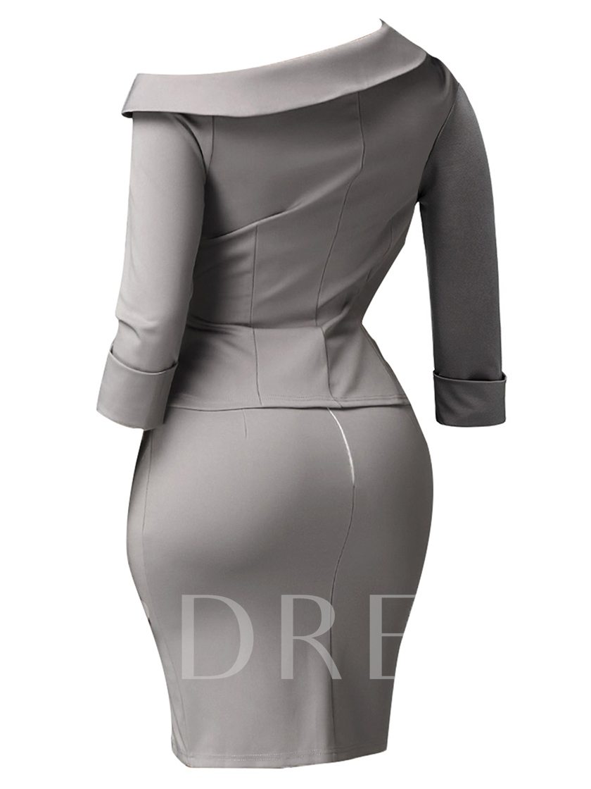 Plain Bodycon Button Women's Skirt Suit