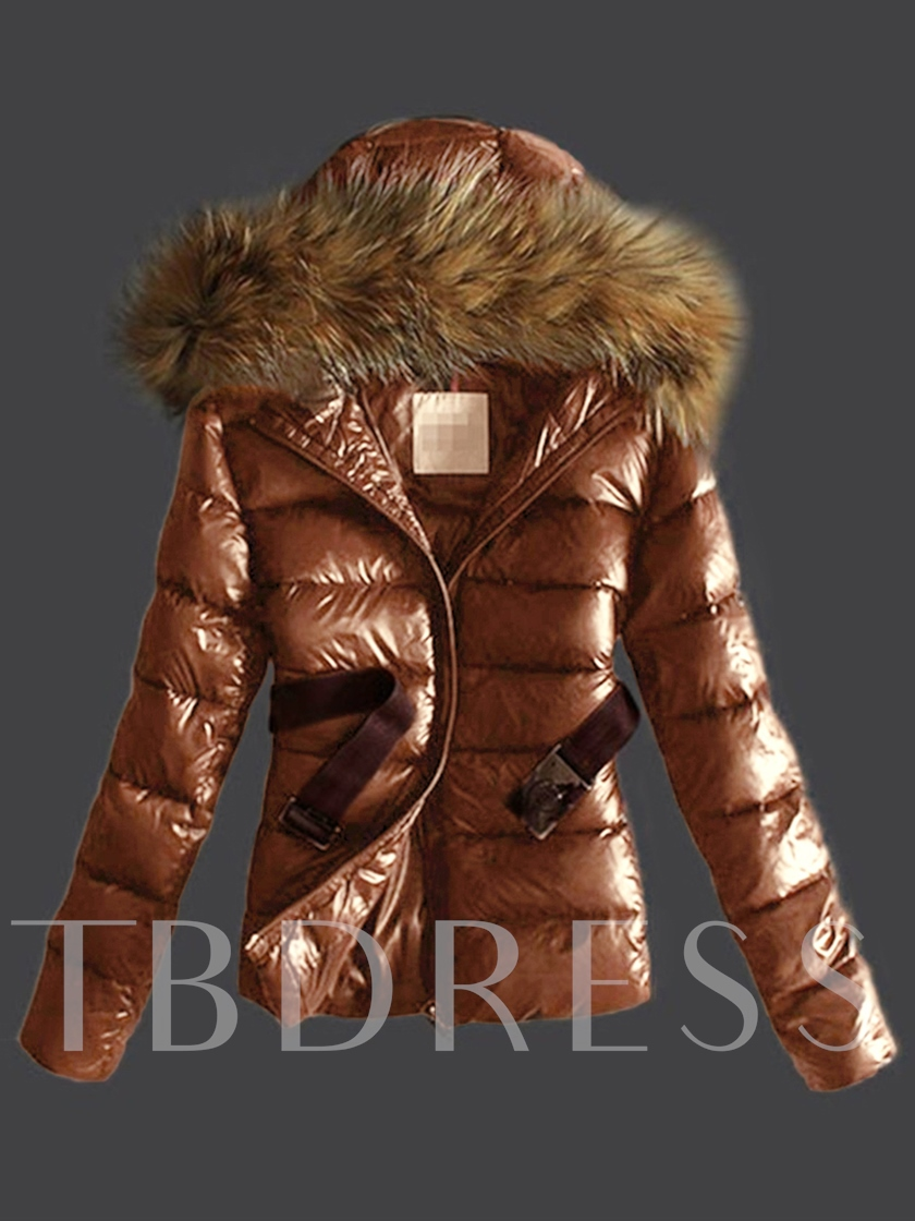 Zipper Plain Hooded Women's Thicken Overcoat