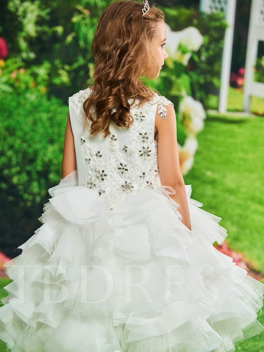 Ball Gown Beading Tiered Flower Girl Dress