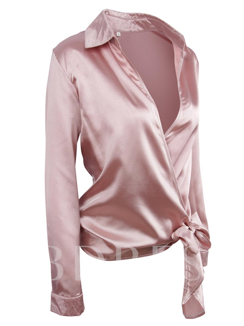 Sexy Deep V-Neck Pussy Bow Women's Blouse