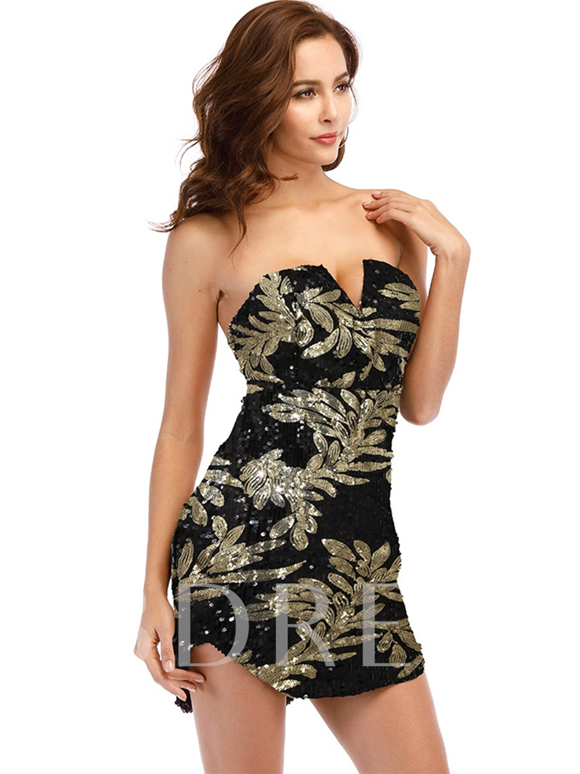 Strapless Sequins Women's Party Dress