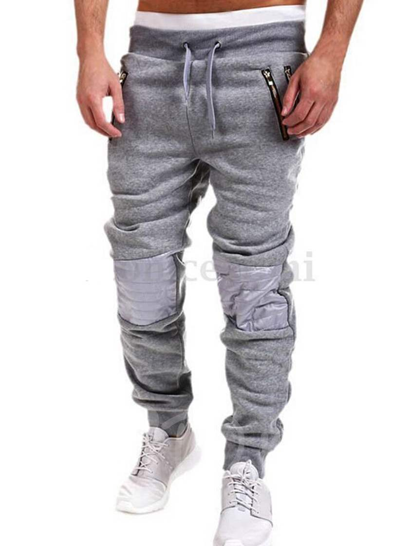Lace-up Patchwork Men's Casual Pants