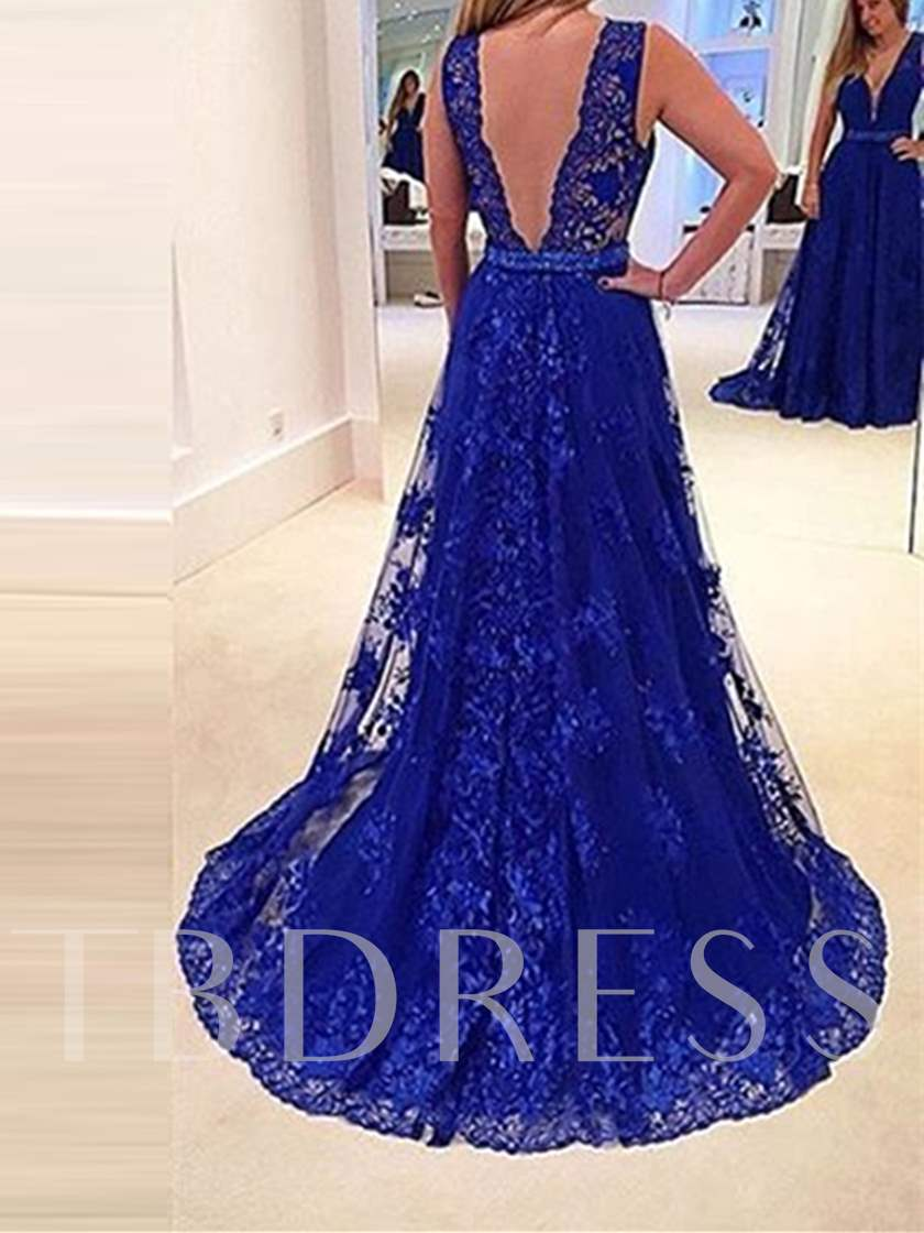 V-Neck Lace Pleats Sashes A-Line Floor-Length Evening Dress