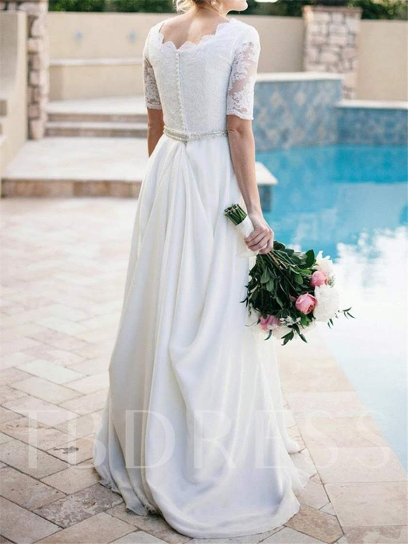 Lace A-Line Beading Half Sleeve Wedding Dress