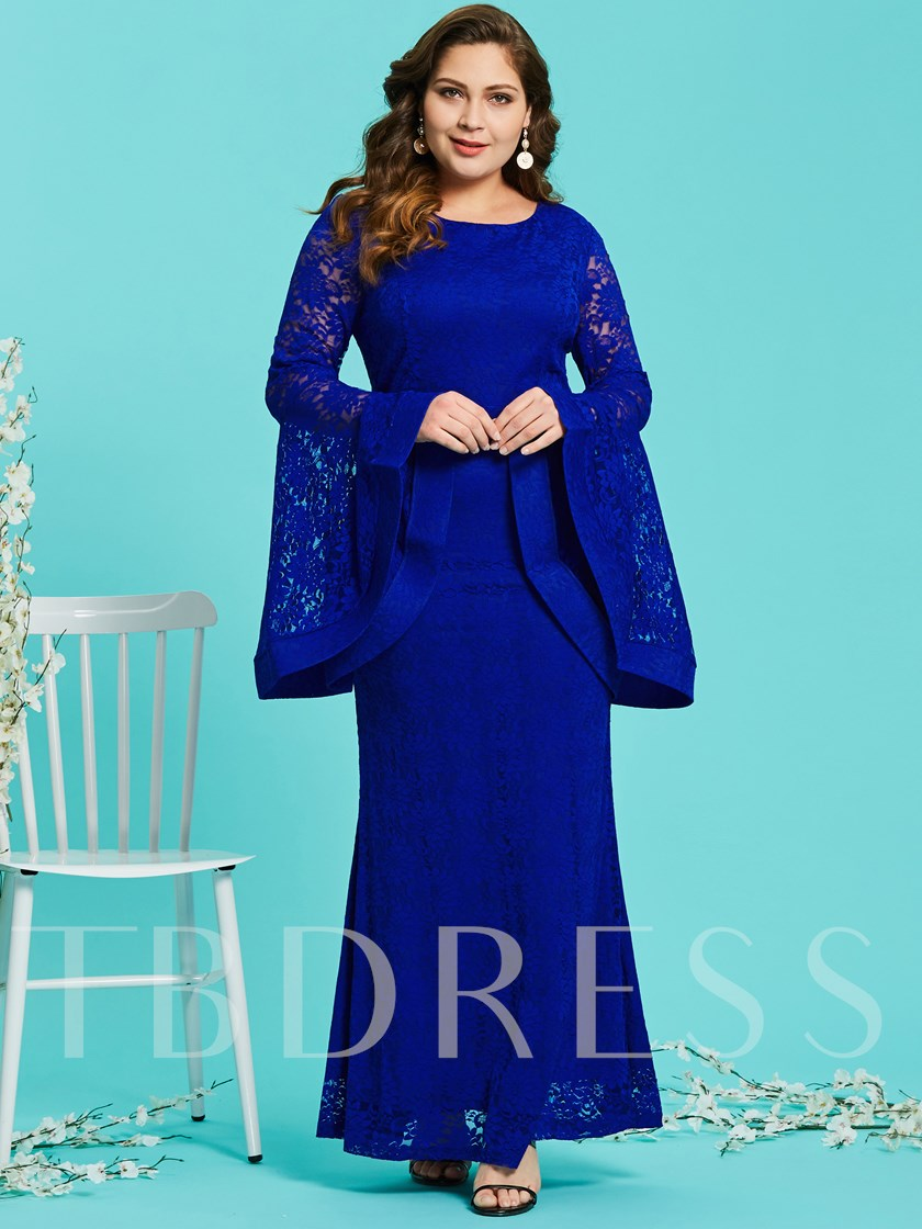 Royal Blue Bell Sleeve Plus Size Women's Lace Dress