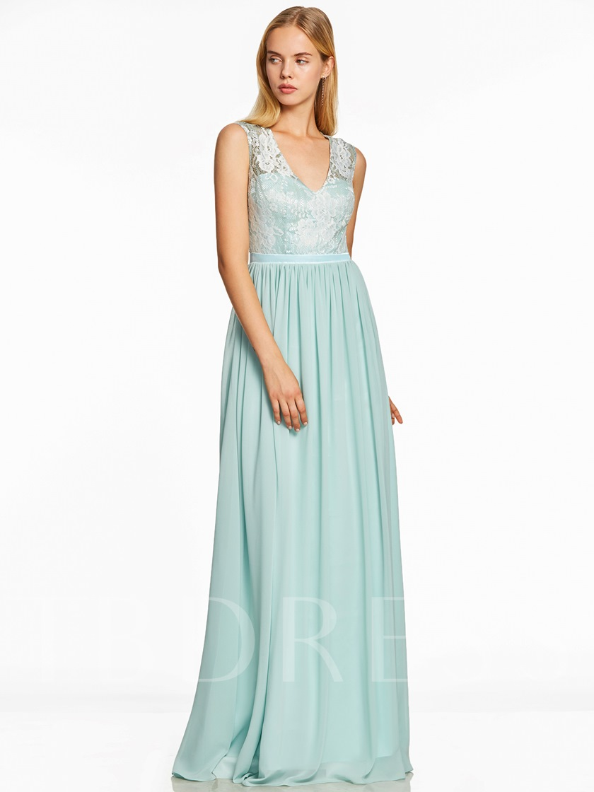V-Neck Backless Lace A Line Evening Dress