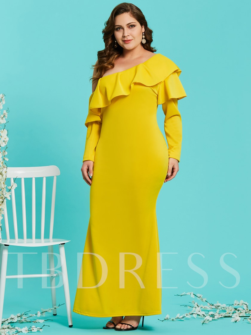 Plus Size Yellow One Shoulder Women's Maxi Dress