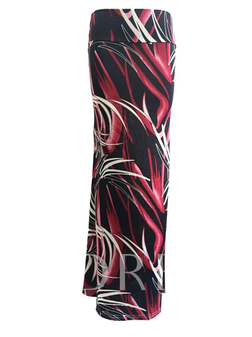 Color Block Print Bodycon Women's Long Skirt