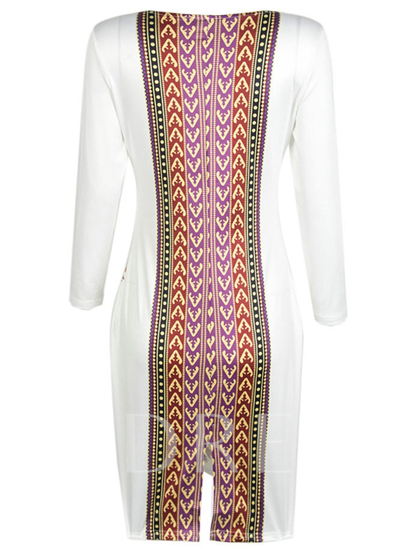 Ethnic Pattern White Women's Sheath Dress