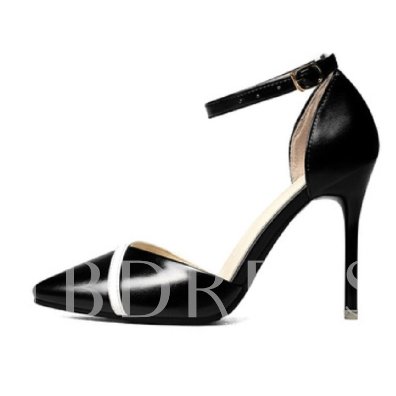 Pointed Toe High Heel Buckle Color Block Women's Pumps, Spring,Summer,Fall, 13138003